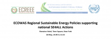 ECOWAS Regional Sustainable Energy Policies supporting national SE4ALL Actions