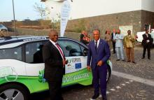 From L - R: Mahama Kappiah Executive Director of ECREEE and H.E. Ulisses Correia e Silva, Prime Minister of Cabo Verde. Inauguration of Electric Vehicle