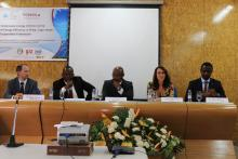 From L - R: Mr. Hannes Bauer, Renewable energy Expert ECREEE, Mr. Mahama Kappiah, Executive Director of ECREEE, H.E. Humberto Brito, Minister of Energy of Cabo Verde, Adriana Nunes, representative of GIZ and Mr. Alois Mhlanga, representative of UNIDO