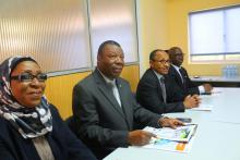 From L- R:  Mrs Khadi Ramatu Saccoh, Commissioner for Administration and Finance; Dr. Toga Gayewea McIntosh, Vice President and chair of the committee of the ECOWAS Commission;  Mr.  Hamid Ahmed, ECOWAS Commissioner for Trade, Industry, Customs and Free Movement, Dr. Muhammad Sani Bello ECOWAS Financial Controller.
