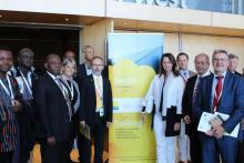 From L - R: Kokouvi Edem  NTsoukpoe - partner 2ie Burkina, Ababacar Thiam - partner Anta Diop University, Senegal Mahama Kappiah – Executive Director of ECREEE, Werner Weiß - AEE INTEC and TA, Brigitte Oeppinger - Austrian Ambasssador in South Africa, Wolfgang Moser -  Austrian seconded expert to SADC, Robert Zeiner - head of international programs, ADA Austrian Development Agency